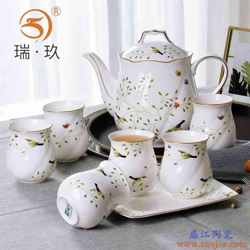 大容量骨瓷茶具套装水具水壶茶壶茶杯茶盘手工描金骨质瓷陶瓷茶杯