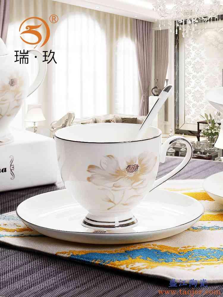 精制骨瓷手工描金咖啡杯碟奢华气质骨质瓷咖啡具杯子带碟送咖啡勺