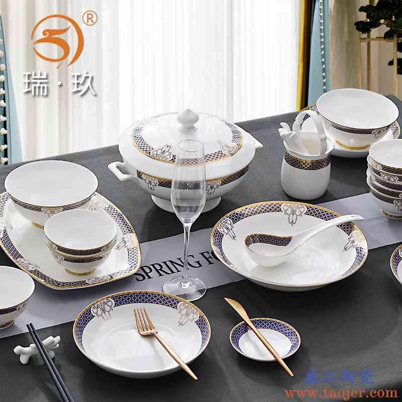 家用欧式金边上档次骨瓷套装28头六人份陶瓷碗盘碟子套具餐盘礼盒