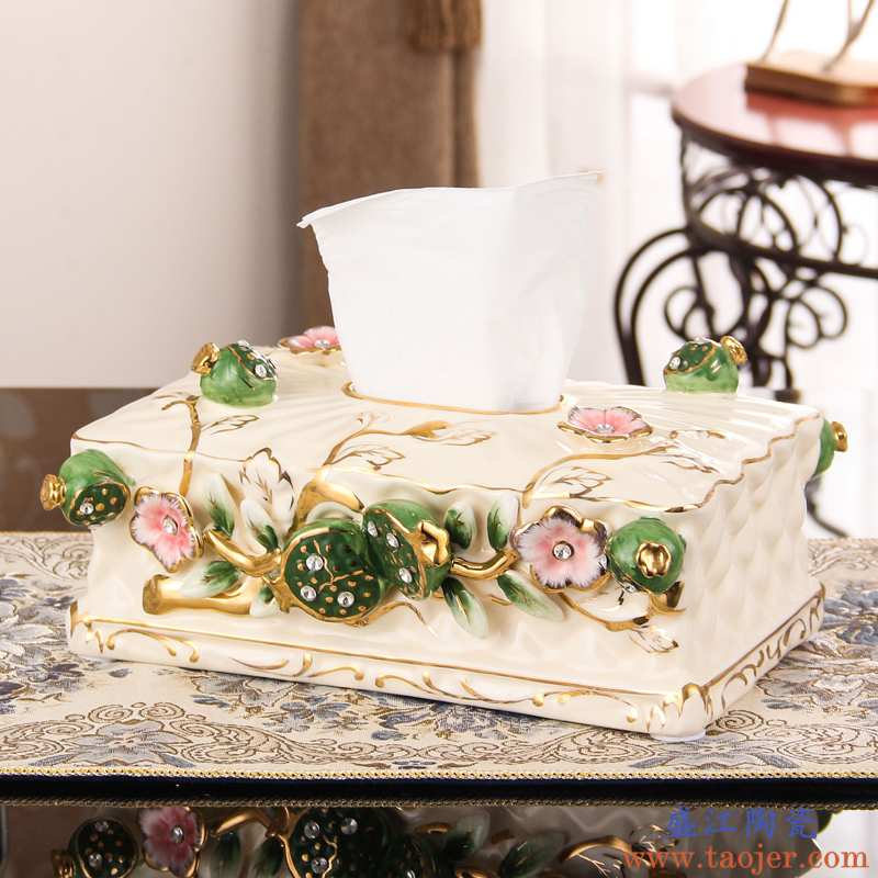 圣路堡欧式陶瓷纸巾盒抽纸盒创意收纳盒客厅茶几桌面装饰品摆件