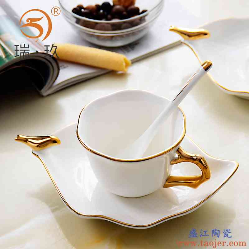 创意精致手工描金骨瓷咖啡杯碟送勺骨质瓷陶瓷茶杯碟下午茶咖啡具