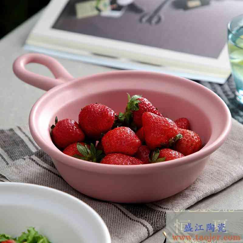 大容量带手柄水果沙拉碗烘培碗焗饭陶瓷碗家用带手柄烤碗甜品深碗