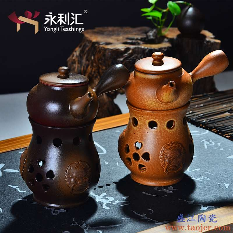 永利汇酒精炉煮茶壶温茶壶泡茶壶单壶家用粗陶日式功夫茶具小青柑