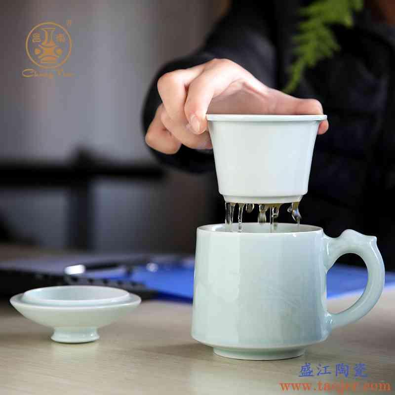 昌南景德镇陶瓷泡茶杯带盖过滤茶具办公室同心杯子定制玲珑杯子