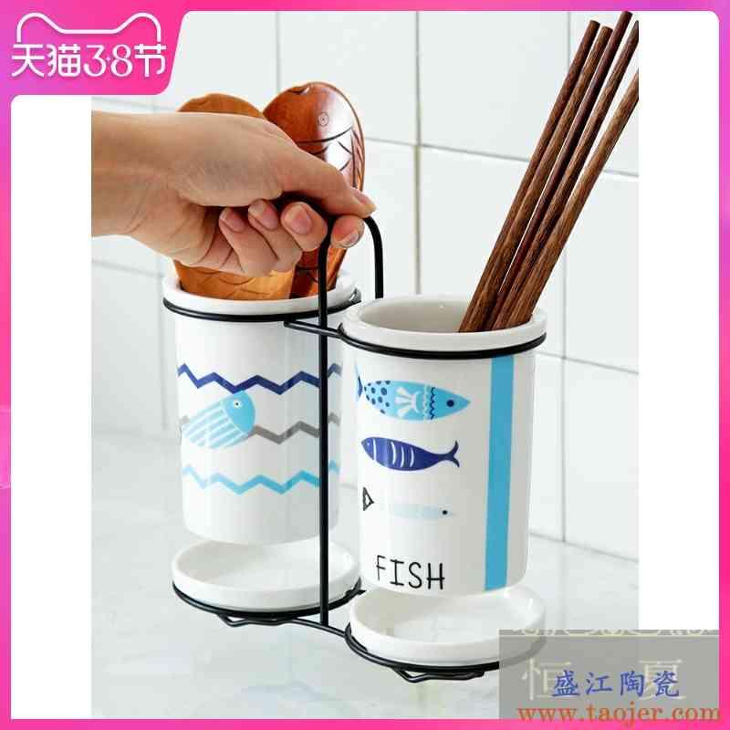筷子置物架多功能筷子篓筷子笼家用陶瓷筷子筒沥水筷子勺子收纳盒