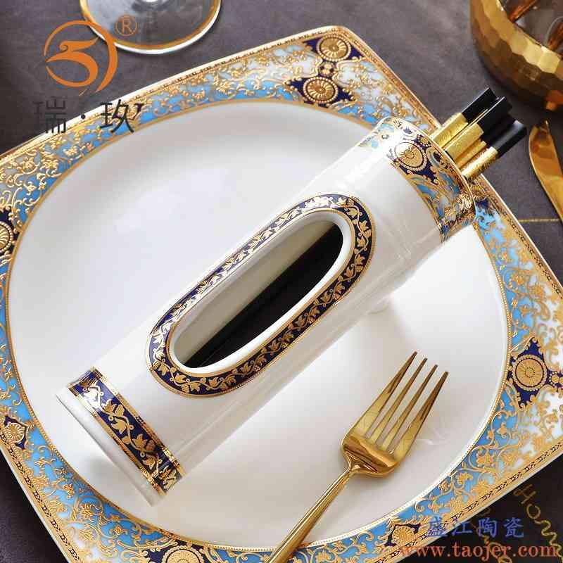精美立体浮雕金骨瓷筷子筒餐桌餐具收纳筒陶瓷筷子收纳盒餐具收纳