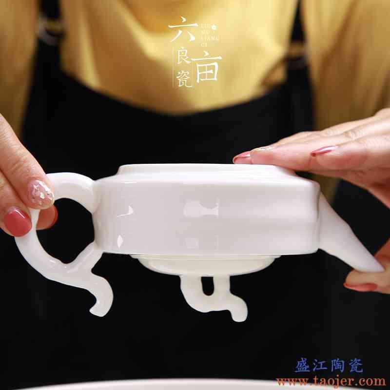 德化白瓷茶壶家用泡茶器中式简约陶瓷功夫过滤耐热西施茶具单壶