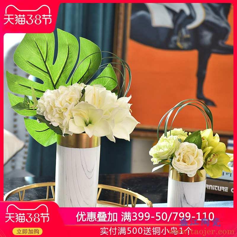 轻奢陶瓷大理石纹理花瓶花艺插花现代客厅餐桌欧式创意装饰品摆件