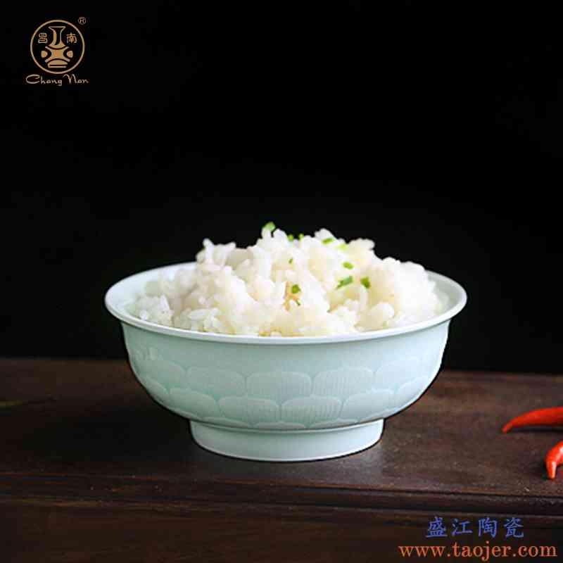 昌南高温陶瓷餐具景德镇影青雕刻碗盘碟家用中式吃饭碗盘礼品套装