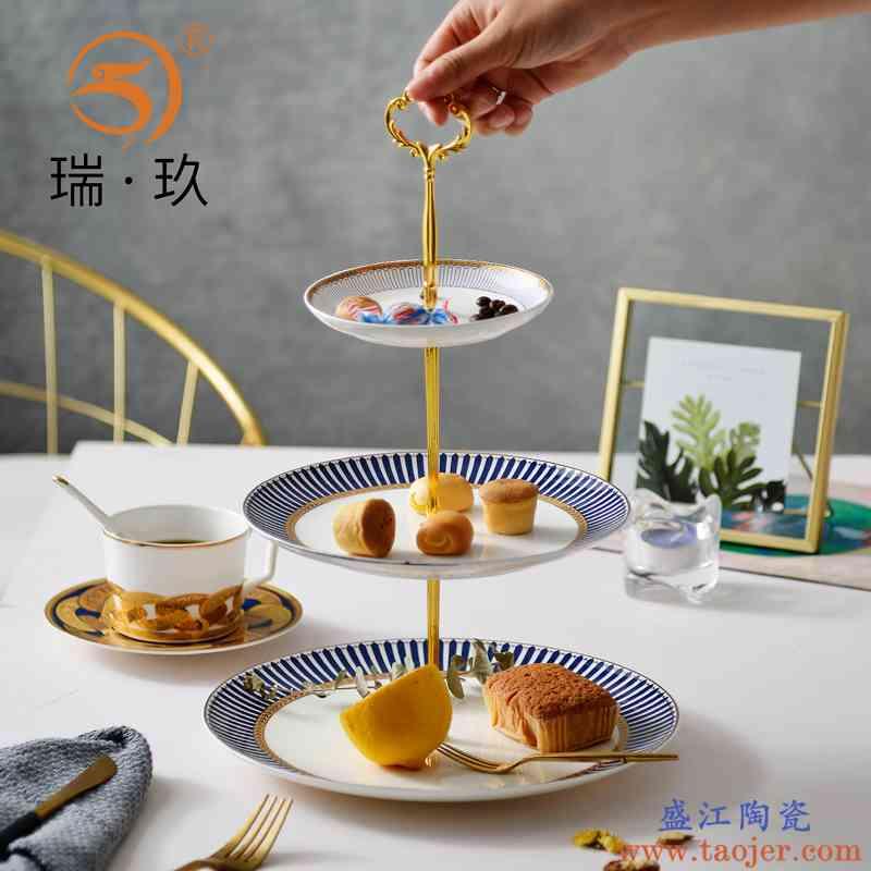 欧式骨瓷双层水果盘糕点盘下午茶点心碟干果盘蛋糕盘送架