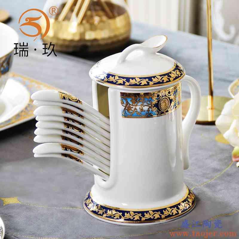 精美立体浮雕金骨瓷勺子筒餐桌收纳餐具勺子收纳罐陶瓷勺子笼架子
