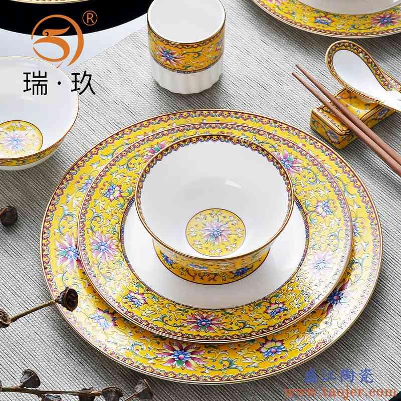 珐琅彩宫廷复古别墅酒店摆台件餐具套装骨质瓷陶瓷碗盘二人食餐具