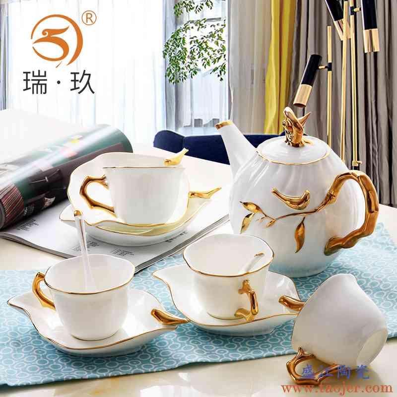 唐山骨瓷手工描金咖啡具套装奢华别墅样板间茶具咖啡具套具杯碟壶
