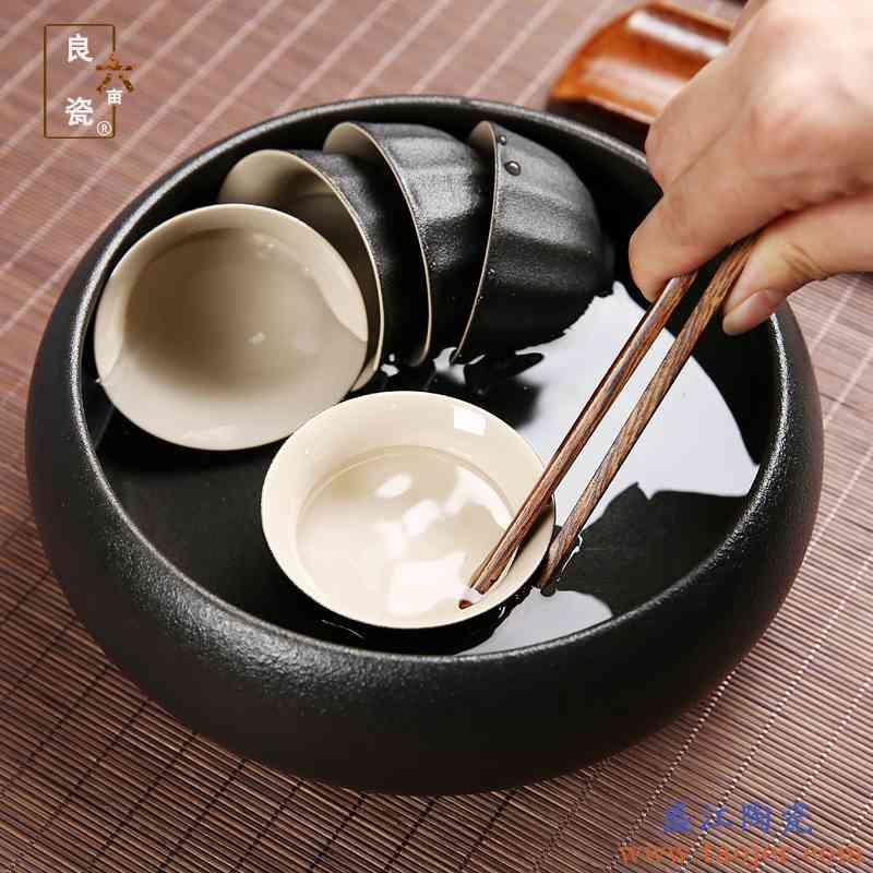 复古茶洗陶瓷大号建水粗陶茶渣缸黑陶水洗个性杯洗功夫茶具配件
