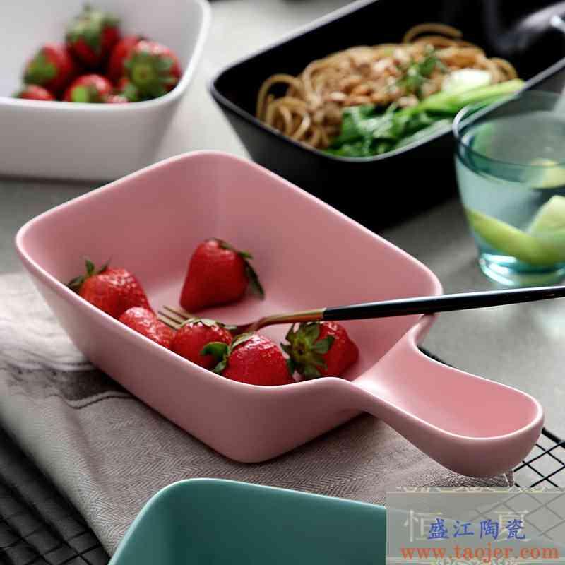 网红款大号沙拉碗甜品碗女生陶瓷碗宿舍简约好看的碗带手柄个性款