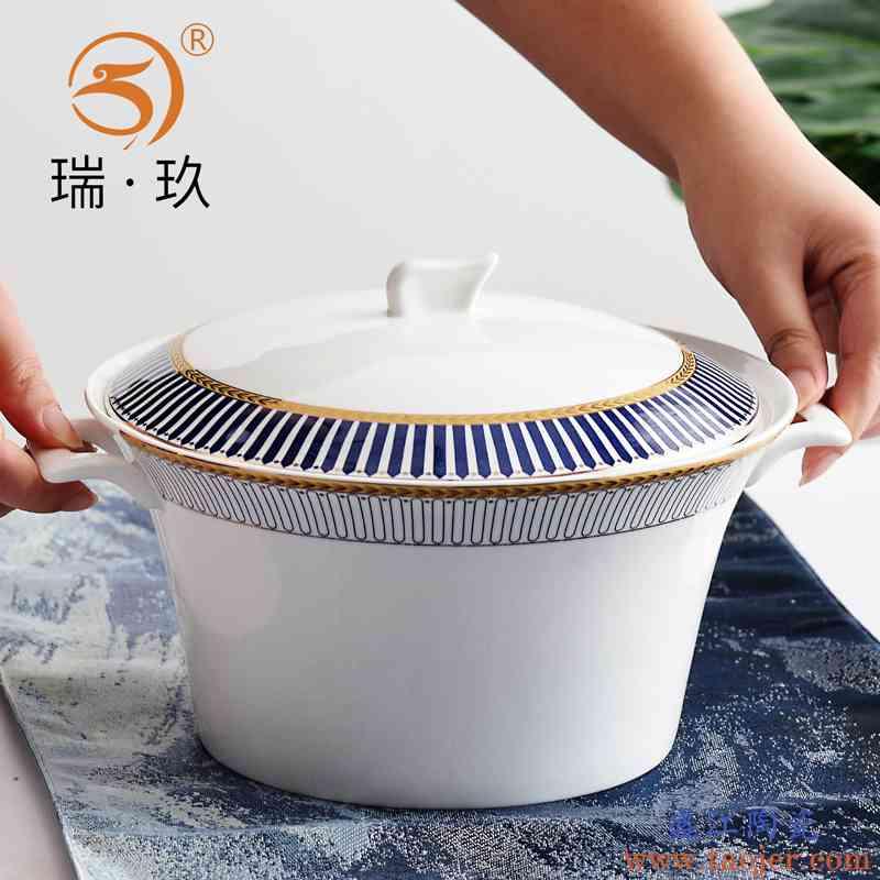 创意欧式家用骨瓷汤锅汤盆大汤碗骨质瓷陶瓷金边带盖碗不烫手品锅