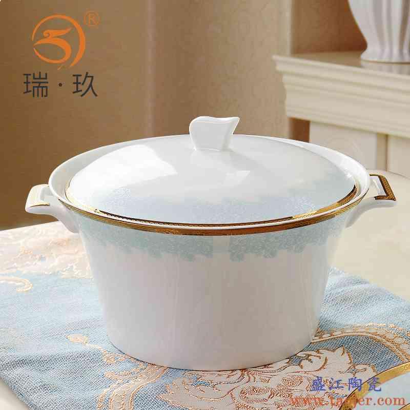 家用金边浮雕上档次大汤锅带盖汤盆陶瓷大汤碗盛汤盆子瓷盆带盖碗