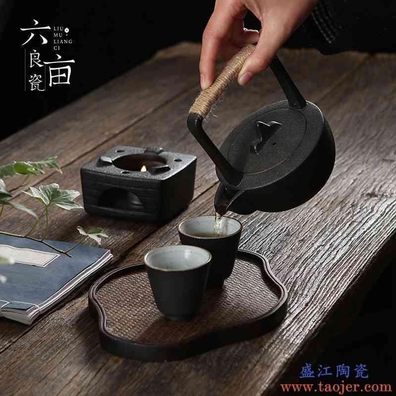 日式蜡烛加热底座复古粗陶家用温茶器陶瓷暖茶器茶壶茶蜡保温底座