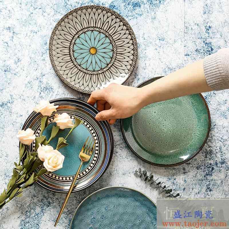 陶瓷盘子平盘创意菜盘日式复古餐具家用寿司盘圆形水果盘窑变个性