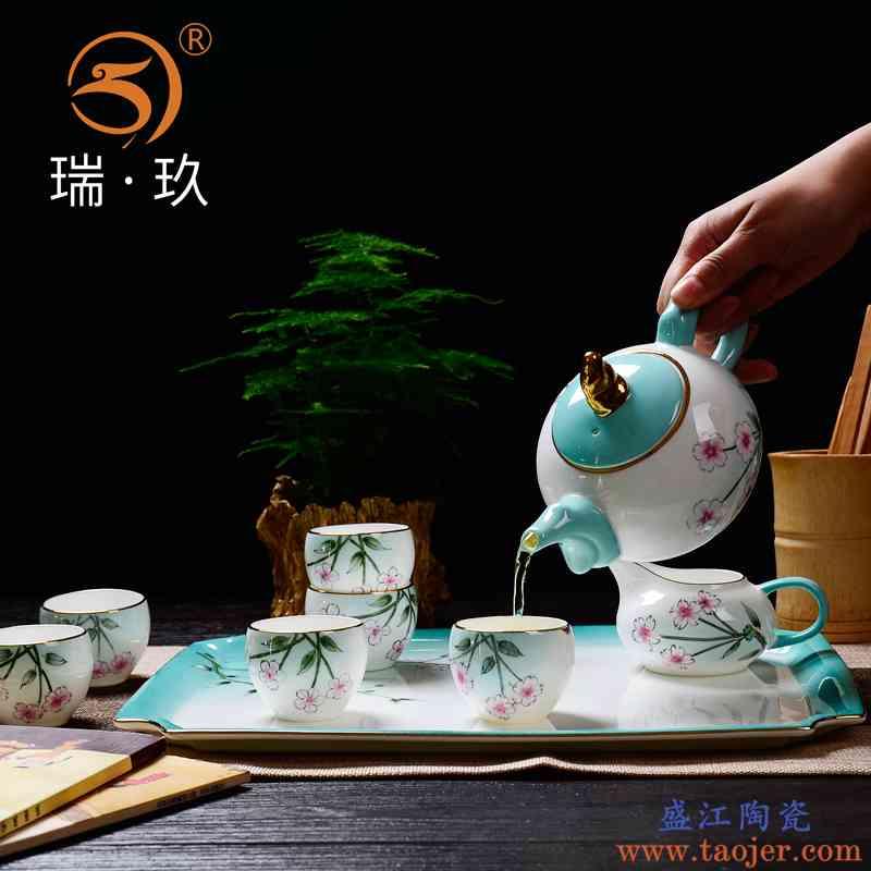 手绘中式茶具小套装家用泡茶壶客厅创意骨瓷茶具礼盒下午茶茶具