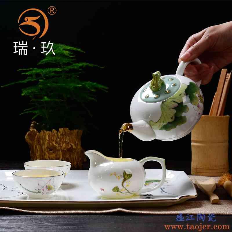 中式手绘骨瓷茶具小套装水具家用泡茶壶客厅茶具套餐9头茶具礼盒