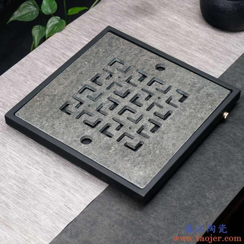 凯伊乌金石干泡茶盘茶台禅意日式长方形储水家用茶托陶瓷简约现代