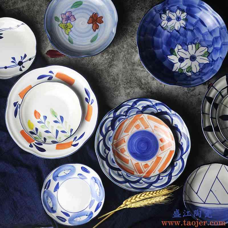 日式盘子 釉下彩和风餐具套装 个性创意 家用花草复古陶瓷 菜盘碟