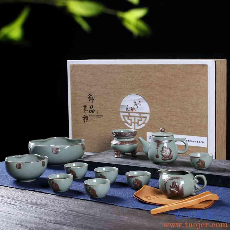 功夫茶具套装家用禅意复古中式景德镇陶瓷哥窑冰裂釉茶杯茶壶礼盒