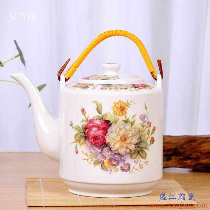 景德镇陶瓷家用耐高温凉茶壶大号容量夏季提梁瓷壶凉水壶过滤防爆