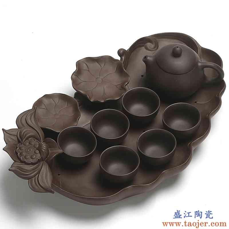 真盛 紫砂功夫茶具茶杯子茶壶整套喝茶茶具套装家用干泡茶盘茶台