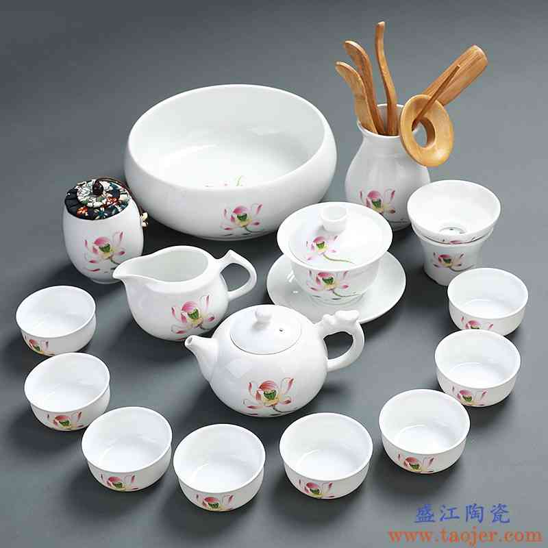 德化白瓷功夫茶具套装简约现代家用茶壶茶杯盖碗整套茶道茶艺陶瓷