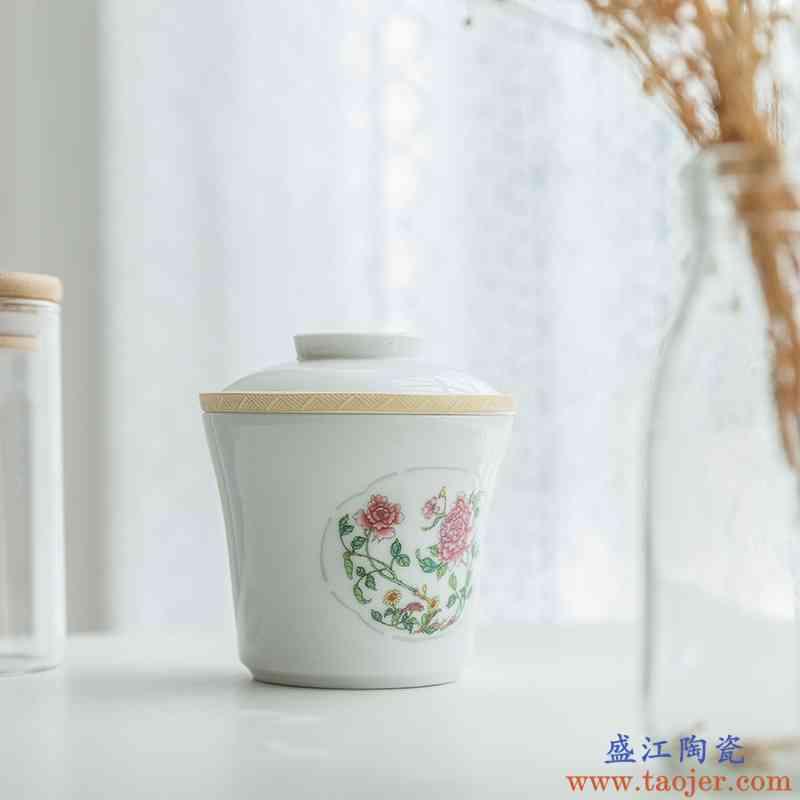玉柏景德镇陶瓷茶具中秋盖碗茶具带陶瓷过滤白瓷一人用套装花月