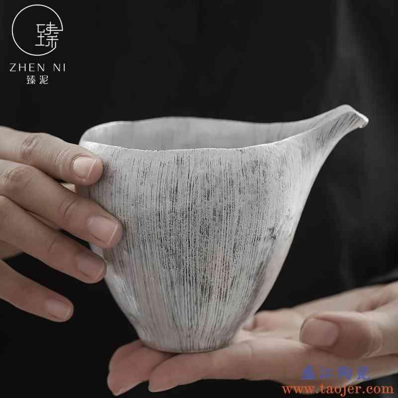 臻泥鎏银公道杯日式手工刷纯银公杯家用泡茶分茶器陶瓷大号分茶杯