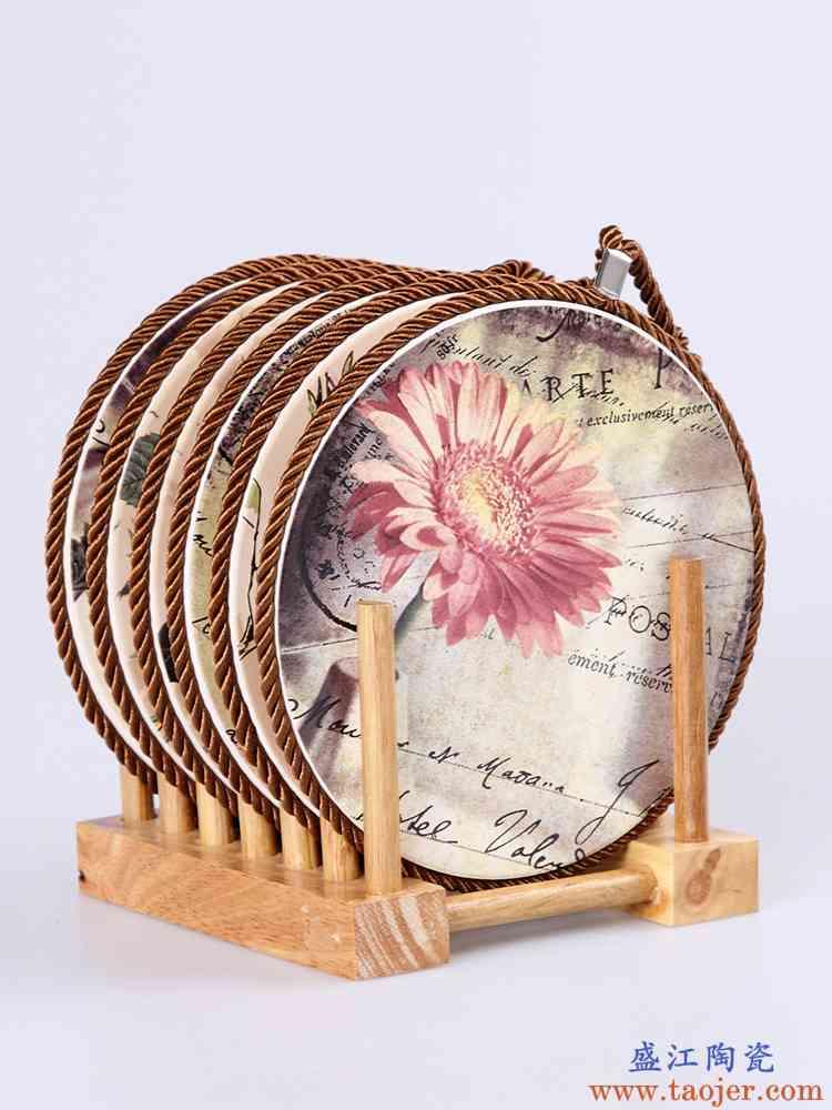 加厚耐热锅垫套装 陶瓷隔热垫 创意厨房餐桌垫防烫垫家用大号欧式