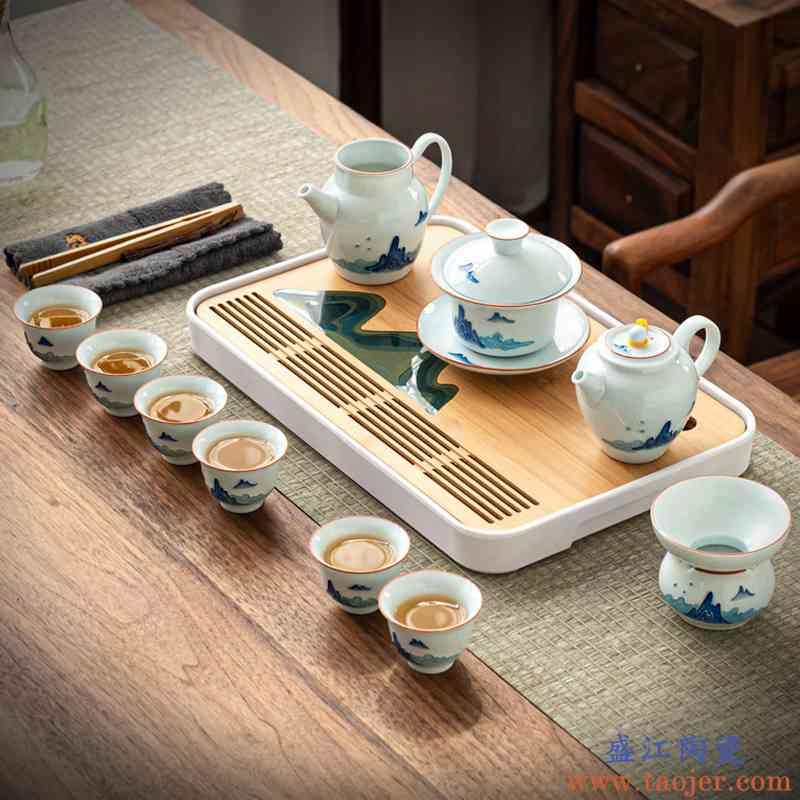 真盛 青花茶具套装手绘茶壶茶杯陶瓷家用简约现代日式泡茶器整套