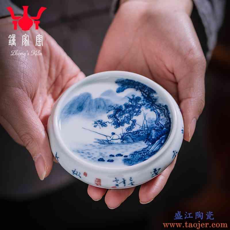 钟家窑盖置盖托景德镇手工青花柴窑山水茶杯垫茶壶盖配件杯托杯垫