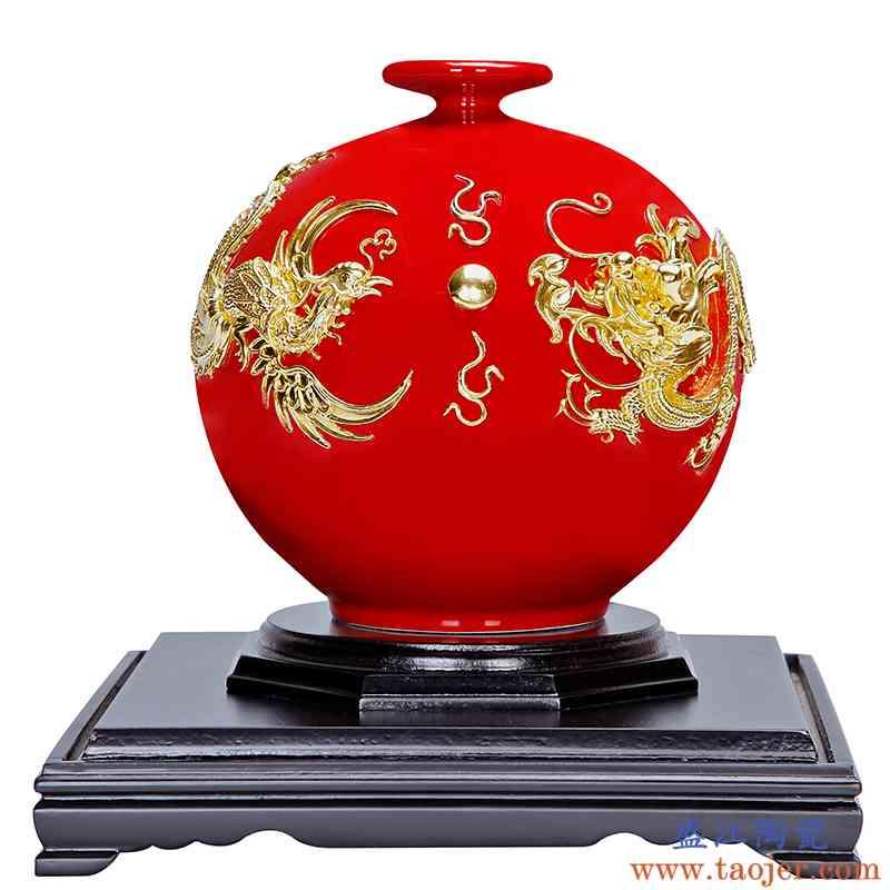 真盛 中国红 漆线雕新婚礼物陶瓷摆件龙凤吉祥送礼礼品手工工艺品