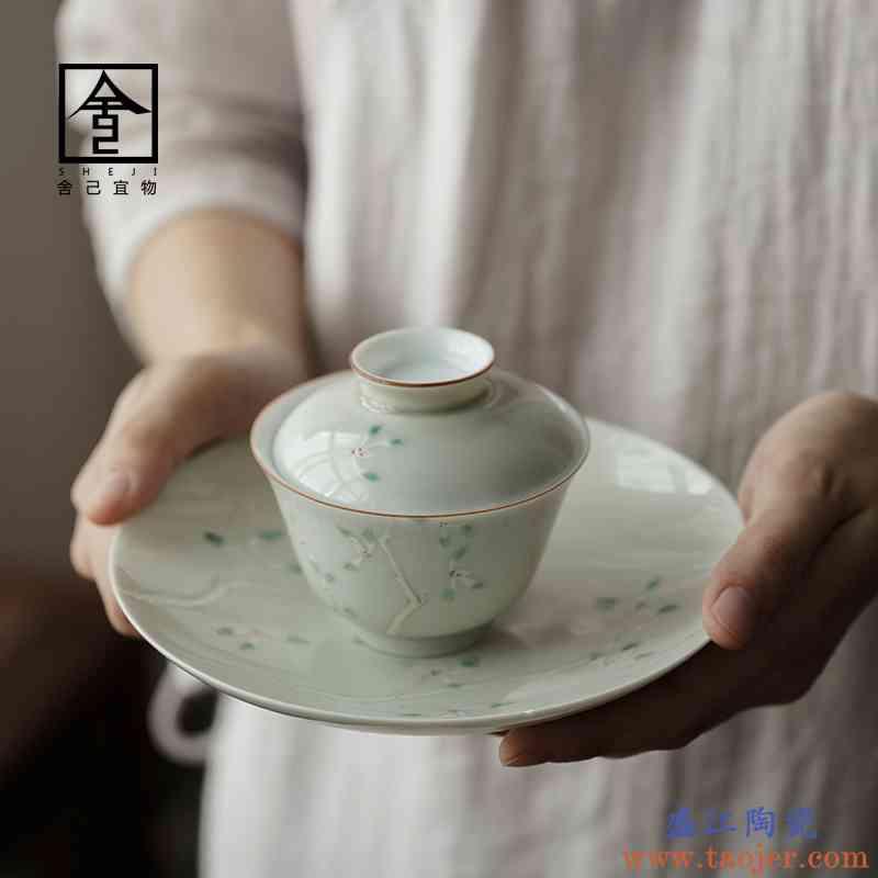 老师傅手绘兰花盖碗茶杯茶碗三才白瓷单个景德镇盖碗茶套装泡茶