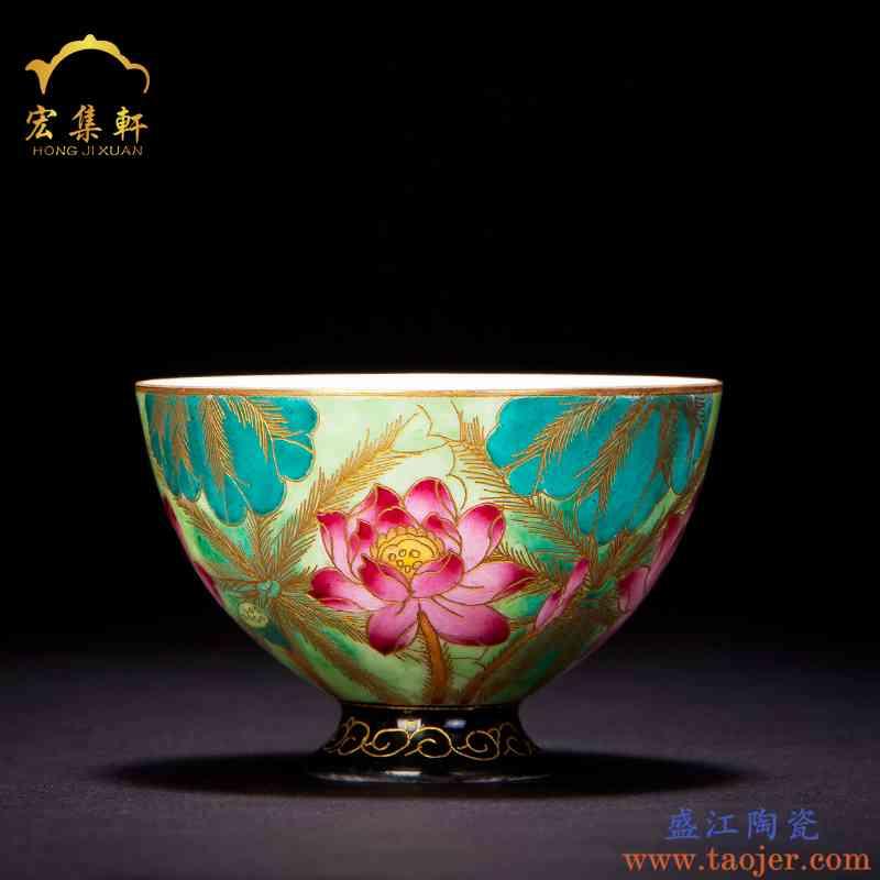 主人杯单杯手绘粉彩掐丝珐琅彩茶杯陶瓷品茗杯茶盏荷花瓣个人单杯