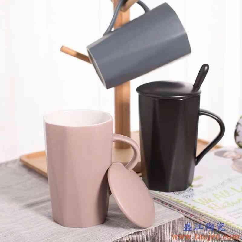 创意陶瓷杯子女大容量水杯马克杯简约情侣杯带盖勺咖啡杯牛奶杯子