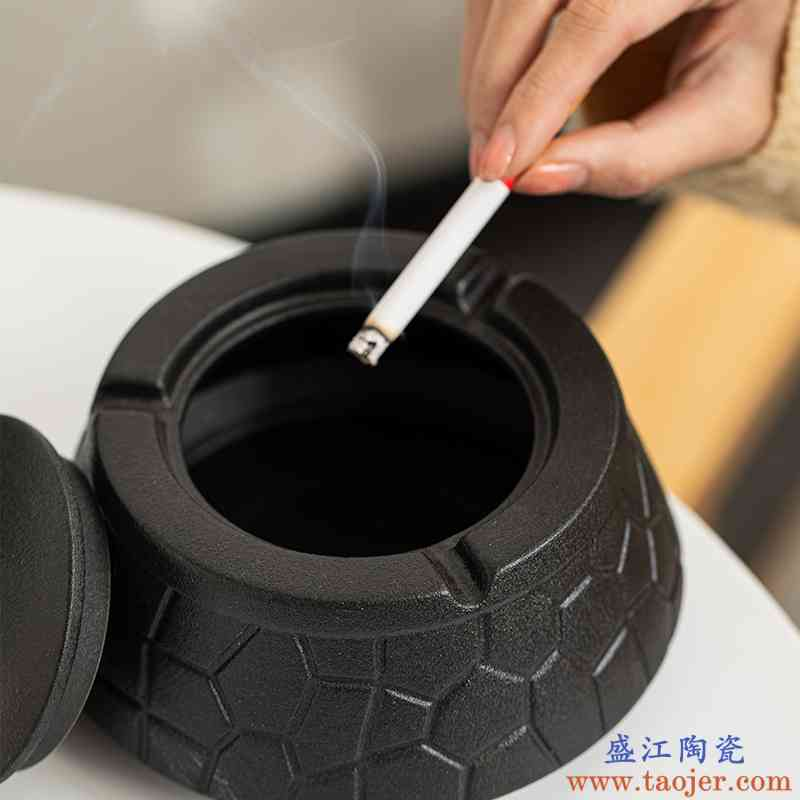 瓷恒堂陶瓷烟灰缸家用客厅带盖防飞灰创意个性潮流办公室定制logo