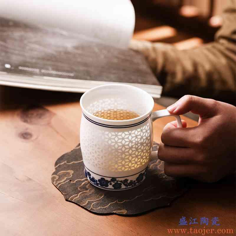 过滤茶杯青花瓷茶杯景德镇玉柏玲珑陶瓷礼品瓷大号办公杯寒梅傲雪