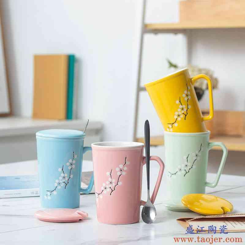 创意陶瓷杯带盖带勺450ML马克杯办公水杯麦片杯牛奶杯