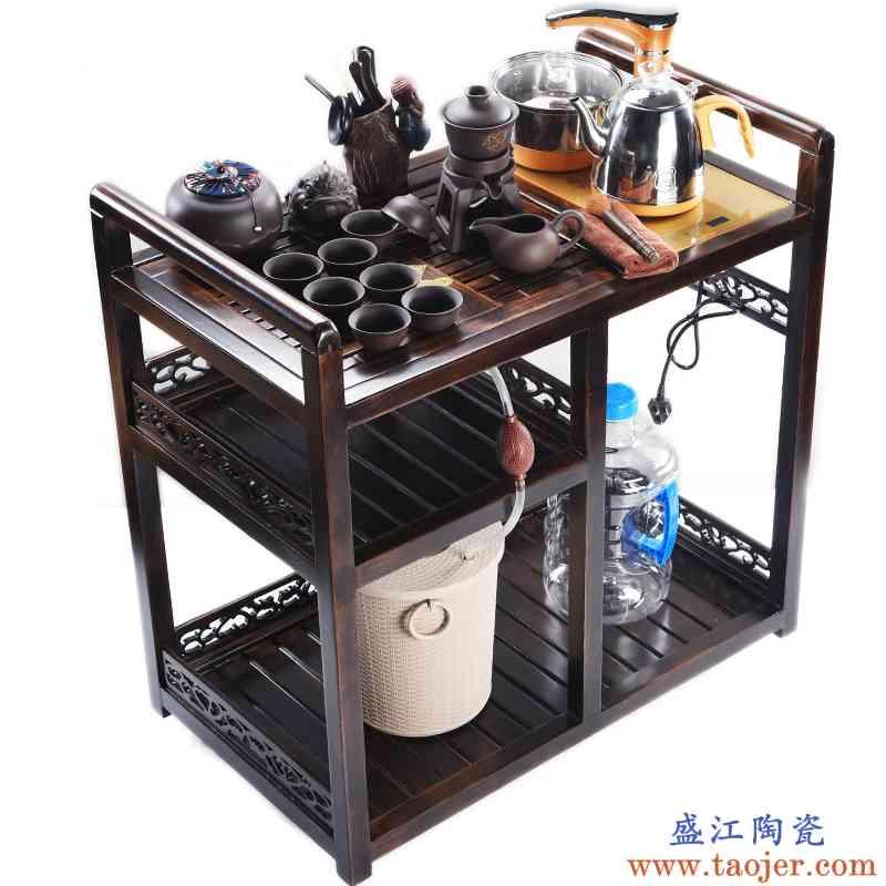 真盛 全自动整套可移动茶车紫砂茶具套装家用乌金石茶盘茶台电茶