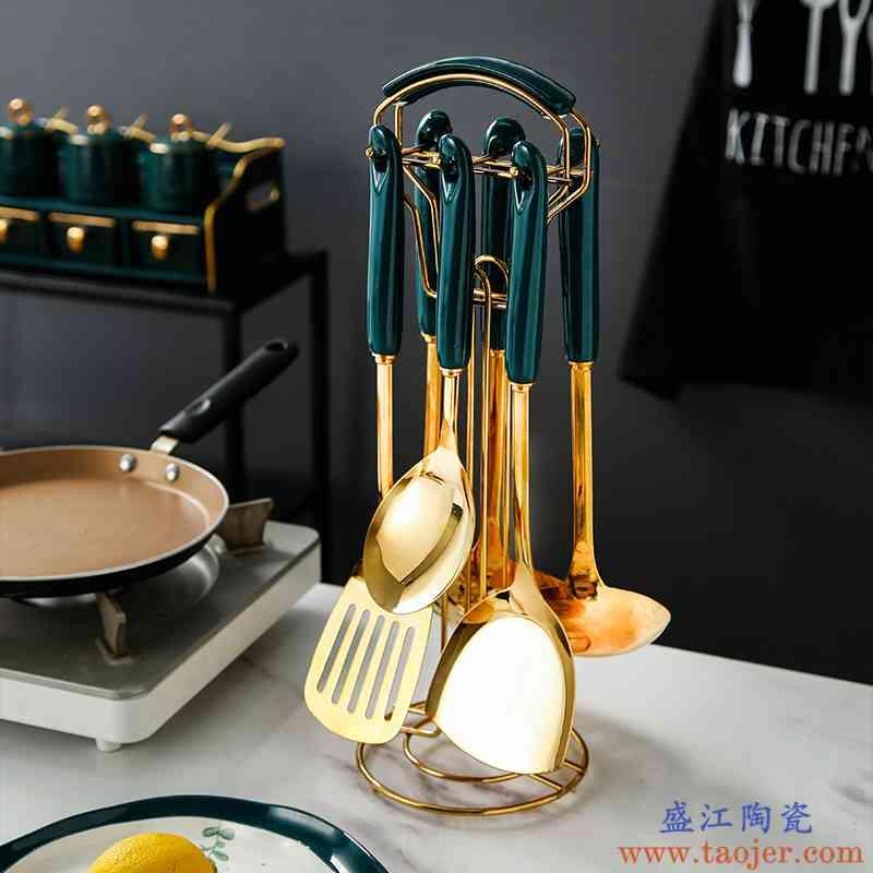 孔雀绿陶瓷不锈钢锅铲长手柄炒菜铲子家用加厚耐高温煎铲汤勺饭勺