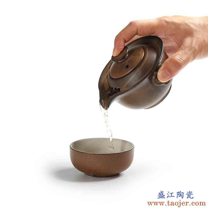 真盛 粗陶快客杯 一壶一杯个人旅行便携办公功夫茶具套装茶壶杯子