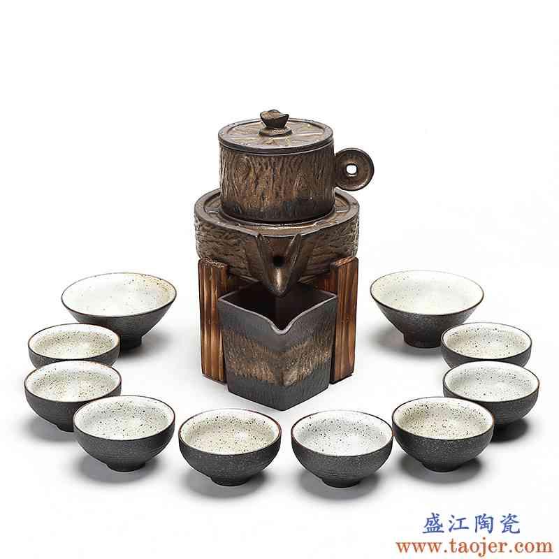 真盛 复古防烫隔热财运滚滚自动茶具 粗陶创意整套功夫泡茶器套装