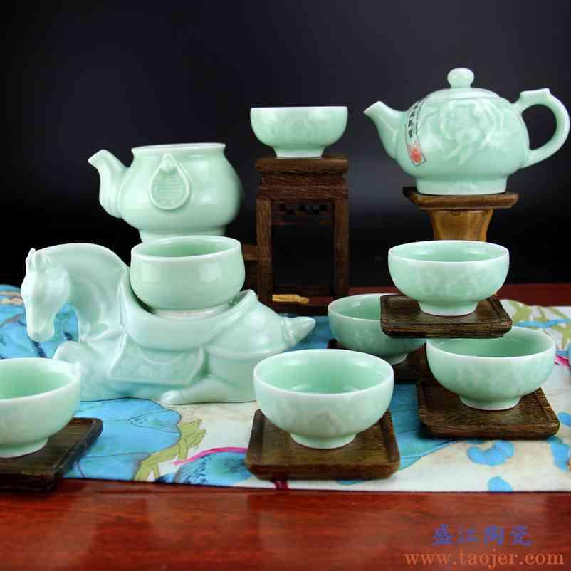 景德镇紫佳陶瓷整套功夫茶具套装 宋青瓷茶壶茶杯 品茗杯高档茶具