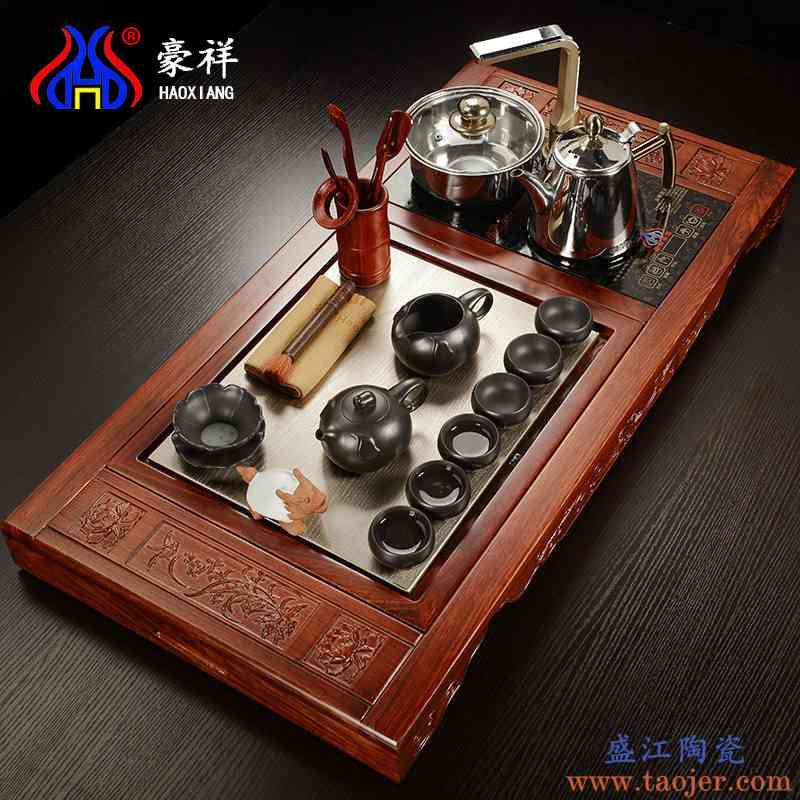 豪祥 花梨实木茶盘铜制茶海功夫紫砂陶瓷茶具套装电磁炉四合一
