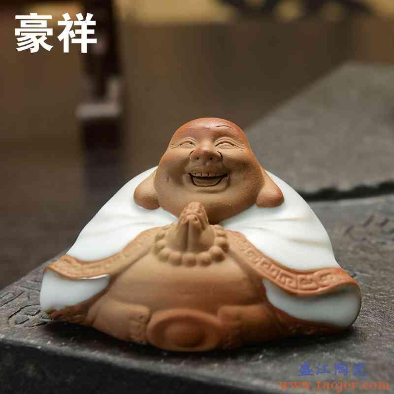 豪祥 茶玩 茶道摆件 汝瓷开片茶宠工艺品 汝窑平安佛 可养开片